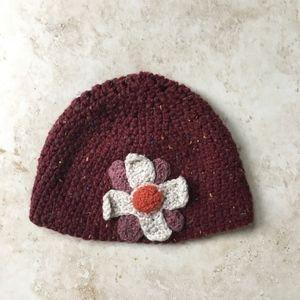 Hand crochet flower beanie hat